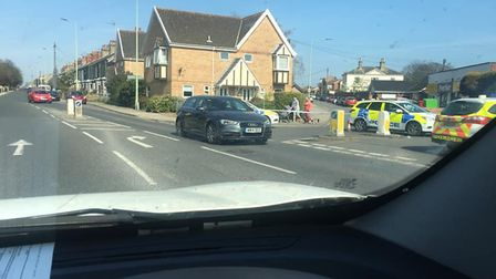 Police cordoned off Pakefield Street, at the junction of London Road South, in Lowestoft. PHOTO: Cri