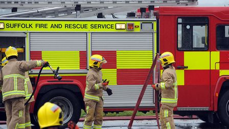 Three crews were called to a large hedge fire this morning in Hartest Picture: PHIL MORLEY