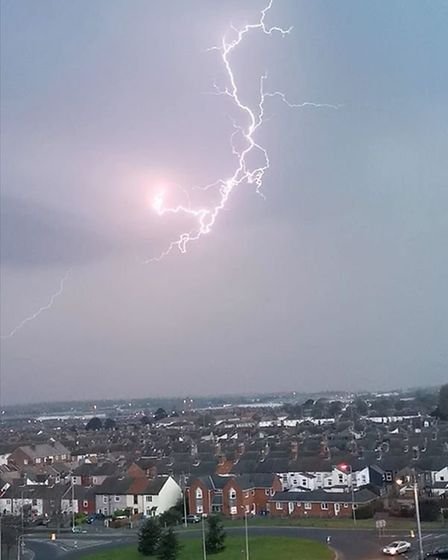 Another striking lightning bolt lit up the skies on Sunday evening. Picture: DEBZ MADEIRA