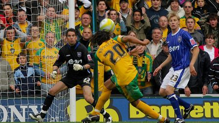 Darel Russell shoots for goal against Ipswich at Carrow Road. Photo: Nick Butcher