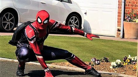 Spiderman, also known as Joe Crich, has been entertaining children in Capel St Mary over the past fe