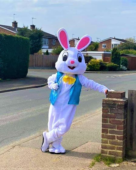 The Easter Bunny still paid Capel St Mary a visit over the weekend despite the lockdown. Picture: TR