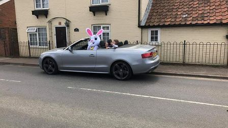 The Easter Bunny turned up in style in Capel St Mary over the Easter weekend. Picture: TRACY CHAPPEL