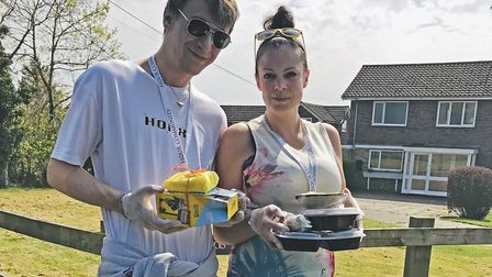 Millie Corke and fiance Nathan Smith with some of the items handed out around Framlingham to vulnera