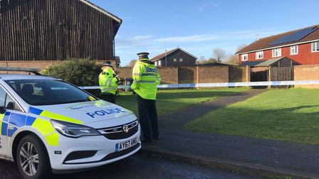Suffolk police at the scene in Brickfields Avenue Newmarket earlier this year Picture: Lauren De Boi