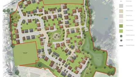 The designs for the 115 home estate off Old Stowmarket Road in Woolpit. Pictrue: DAP ARCHITECTURE LT