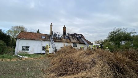 Dozens of firefighters tackled the blaze at Stoke Ash Picture: IXWORTH FIRE STATION/SUFFOLK FIRE AND