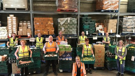 The FareShare East Anglia team of volunteers with a donation of food from the Vestey Food Group for