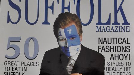 David Sheepshanks with his face painted blue and white for the front cover of the EADT Suffolk magaz