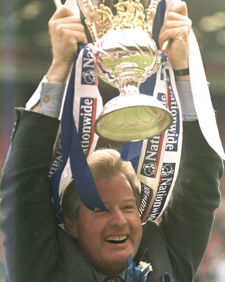 David Sheepshanks celebrates promotion at Wembley in 2000. Picture: ARCHANT