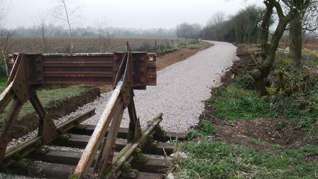 The trackbed of the Middy extension is waiting for rails to be laid. Picture: MID SUFFOLK LIGHT RAIL
