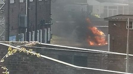 Firefighters pictured battling the fire at the police station in Harwich. Picture: HELEN DENYER