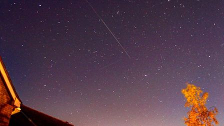 The Starlink is a trail of satellites, which goes by the name of SpaceX. Picture: JOHN FITCH