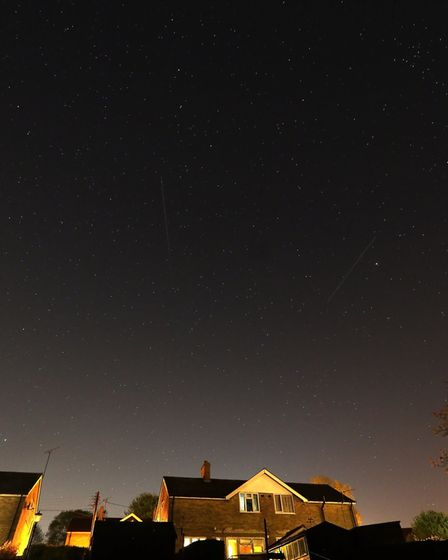 Image from last night, Monday, April 20, showing two Starlink satellites over Stowmarket. Picture: G
