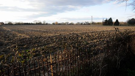 The view from Leiston Cemetery across the site of the proposed new 187 new home in Saxmundham Road.