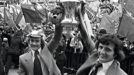 The highs and lows of Ipswich Town - this being a high. Mick Mills and Roger Osborne with the FA Cup