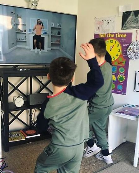 The kids have been doing the Body Coach PE classes and have been loving them. Picture: SAM BULL