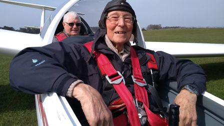 Ron Courtney who sadly died after contracting coronavirus aged 92 (front) and his gliding instructor