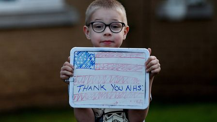 48th Fighter Wing families show their appreciation for medical care workers outside their homes at R