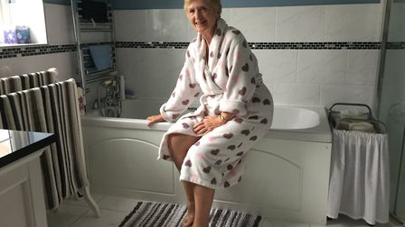 Gillian Twissell with her bath tub. Picture: GILLIAN TWISSELL