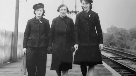 Gladys Garlick, right, with two colleagues while working on the railways during the Second World War