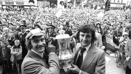 Ipswich Town captain Mick Mills, left, and Roger Osborne, who scored the winning goal against Arsena