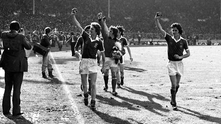 Ipswich players celebrate their famous FA Cup win back in 1978