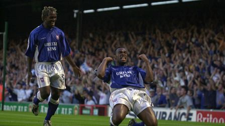 Fabian Wilnis celebrates his goal in the draw with Manchester United in 2000 - Town finished fifth i