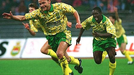 Ruel Fox (right) pursues Jeremy Goss, after the Wales international scored his memorable volley at B