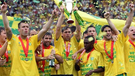 Norwich celebrate promotion to the Premier League - they have dominated the Anglian derby in the las