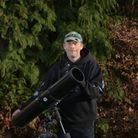 Astronomer Neil Norman watching out for the Chinese rocket stage. Picture: SARAH LUCY BROWN