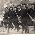 I just love these two pictures of my (2nd from right) Mum (Joyce Green nee Bradford) celebrating VE
