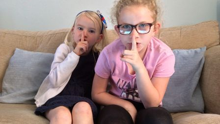 Chloe, 9, and Jessica Middleton, 6, from Moreton Hall in Bury St Edmunds have vowed to keep quiet to