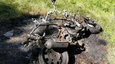 The charred remains of the moped found in Haverhill. Picture: SUFFOLK CONSTABULARY