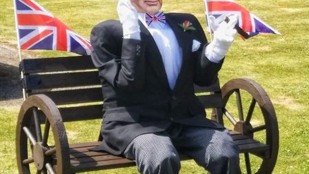 Winston Churchill was prime minister during the Second World War and was commemorated in a scarecrow