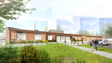 An artist's impression of how the Sir Bobby Robson School in Ipswich will look, which is still expec