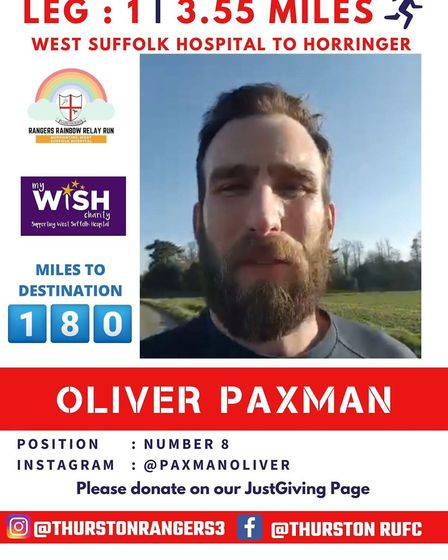 Oliver Paxman, who came up with the idea for the fundraiser, started it off Picture: THURSTON RUGBY