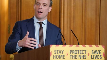 Foreign Secretary Dominic Raab during a media briefing in Downing Street Picture: Pippa Fowles/10 Do