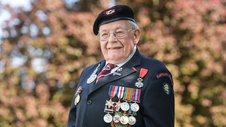 D Day Veteran Alan King pictured on VE Day. Picture: SARAH LUCY BROWN