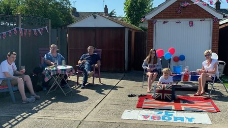 Residents of Vincent Close in Ipswich celebrated the VE Day anniversary in front of their homes. Pic
