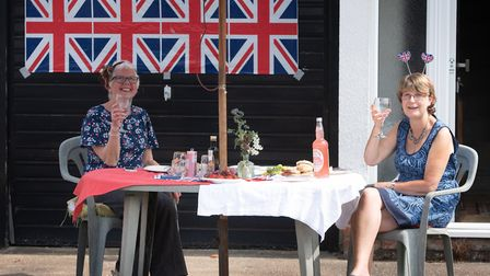 Suzanne Clifford and Elaine Harper enjoy a drink at the Brunswick Road Street party Picture: SARAH L