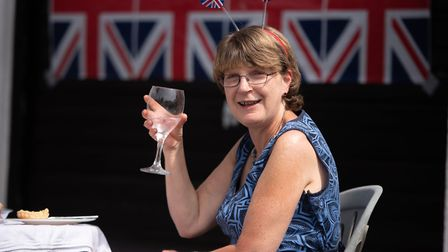 Elaine Harper enjoys a glass of wine at the Brunswick Road VE Day celebration Picture: SARAH LUCY BR