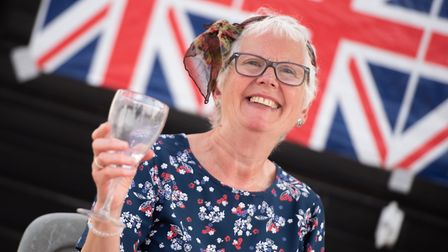 Suzanne Clifford enjoys a drink at the Brunswick Road Street party Picture: SARAH LUCY BROWN