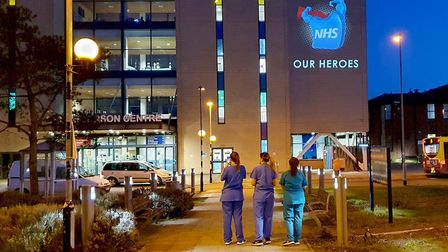 A message of support for the staff at Ipswich Hospital. Picture: Motion Mapping