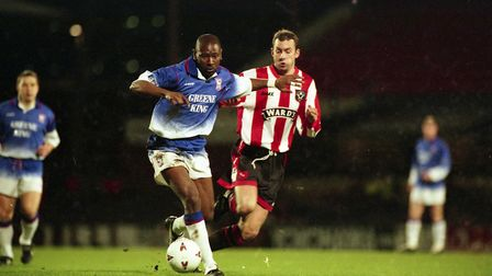 Greene King took on the club's shirt sponsorship from 1995 to 2001. Picture: ARCHANT