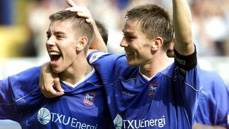 Darren Ambrose and Matt Holland wearing the TXU Energi branded shirts. Picture: ARCHANT