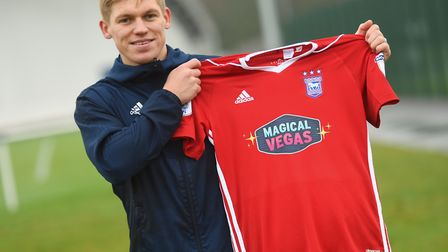 Martyn Waghorn shows off the new Magical Vegas shirt in January 2018 . Picture: GREGG BROWN