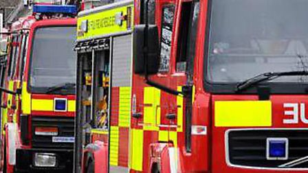 Firefighters tackled a muck heap blaze near Badingham last night Picture: ARCHANT