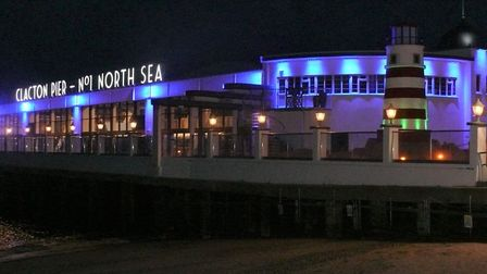 Clacton Pier was one of the landmarks to be lit up blue for International Nurses Day. Picture: CLACT