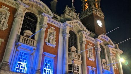 Colchester Town Hall joined in the #LightUpBlue event for International Nurses Day. Picture: COLCHES